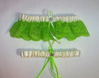 Ivory Cream Satin / Apple Green  Lace - 2 Piece Wedding Garter Set - 1 To Keep / 1 To Throw