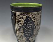 Sgraffito Tumbler with Fish Totem Green Glaze