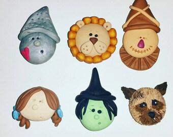 Wizard of Oz Christmas Ornament or Magnet  Cake topper Cupcake Topper Magnet Ornaments or Party Favors Personalized Custom Handmade Keepsake