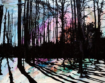 Forest Trees & Shadows Nature Print (Light Multi Color Abstract Painting with Black Silkscreen - Various Size Options) Modern Woodlands