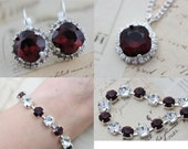 Burgundy Necklace Earrings Bracelet  Jewelry Set Silver Crystal Maid of Honor Gift Maroon Crystal Bridesmaid Gift Mother of Bride