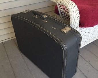 Large Vintage Suitcase For Travel Storage or Home Accent Decor Gray Travel-Smart Luggage