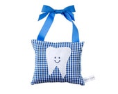 Tooth Fairy Pillow Boys Tooth Fairy Personalized Tooth Fairy Gift for Boys Personalized Tooth Fairy Pouch in Royal Blue Gingham Print