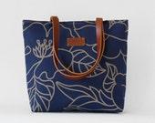 Blue blossom tote / diaper bag / shoulder bag, leather handles, 9 pockets.  Design by BagyBags