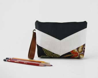 Ivory chevron dark navy blossom pouch , Design by BagyBags
