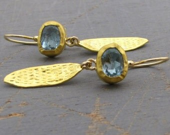 Blue Topaz Gold Earrings - 24k Solid Gold & Blue Topaz Earrings - Dangle Gold Earrings