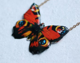 Red Butterfly Necklace ... Tin Peacock Moth Vintage Enamel