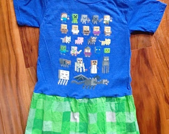 CLEARANCE - Girls Size XS 4t 5t Minecraft Creeper bottom Dress ready to ship (S-4-11)