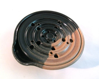 Soap Dish - Draining Soap Dish - Drain Tray - Handmade Pottery - Pottersong - One Piece - Soap Saver - Kitchen or Bathroom - Black and tan