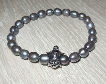 Black Pearl Buddha Charm Bracelett