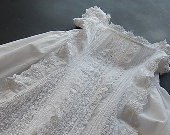 French Antique Handmade Christening Gown with Exceptional Embroidery and Waterfall Ruffles