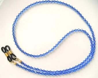 GLAMOROUS Swarovski Crystal Eyeglass Chain in Sapphire Blue - Swarovski Crystal Eye Glasses Chain - Reading Glasses Chain - Sunglasses Chain