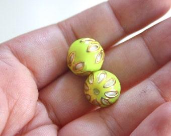 SALE Neon Yellow floral spheres - Floral Cloisonné Meena beads (2) 12mm