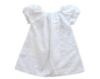 ON SALE Baby White Dress, Peasant Dress