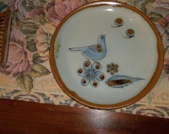 "Mexican Pottery Vintage Ken Edwards El Palomar Plate Blue Bird Butterflies 7 3/4"""