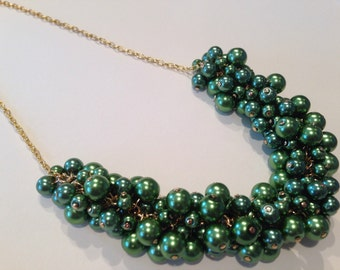 Forest Green Pearl Gold Statement Necklace