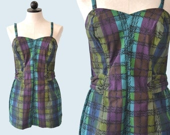 1950s Plaid Romper Cotton Swimsuit size M
