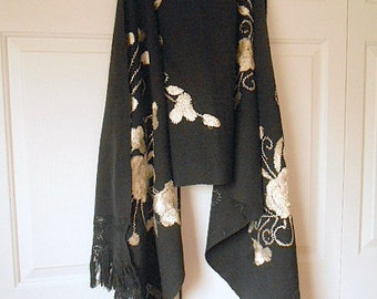 Vintage black woven cotton embroidered Boho Wrap Textile