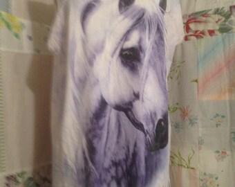 OPEN SIZE, Bohemian Hippie Flowerchild Horse Lover Long T-Shirt OOAK , Artfully AlteredTop