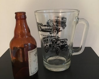 Pitcher Sized Beer Mug Glass Stein / Antique Cars / Mens Gift