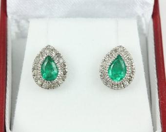 2.70tcw Emerald & Diamond Studs 14k, Emerald Diamond Halo Earrings, Emerald Pear Studs, May Birthstone Earrings, Emerald Studs, Pear Studs