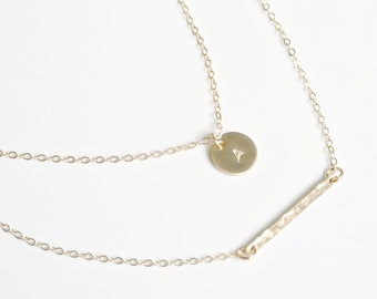 Layered Necklace Set of 2, Dainty Gold Bar and Disc Necklace, Hammered Bar, Personalize Necklace, Silver or Gold Layered Necklace