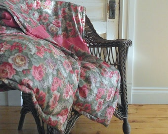 Feather Comforter | Rose Chintz Throw | Vintage Feathered Filled Quilt | Weighted Blanket | Cottage Chic Decor