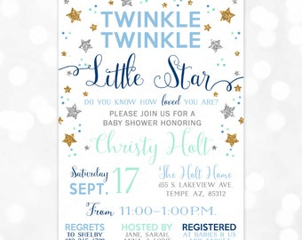 Twinkle Twinkle Little Star Baby Shower Invitation  Baby Boy Gold Silver Glitter Mint Blue Little Star DIY Printable Invite PDF (Item #169)