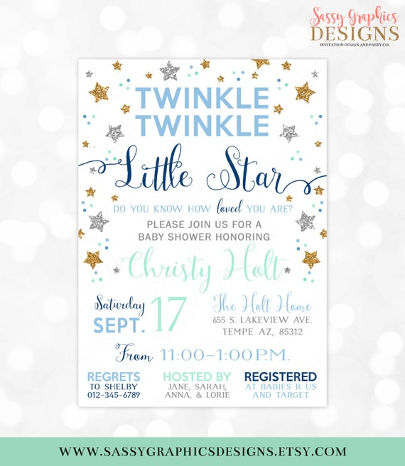 Twinkle Twinkle Little Star Baby Shower Invitation Baby Boy Gold