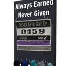 Always earned... Race bib holder - holder for bibs and medals, running race bib hanger, racing bibs, race day bibs