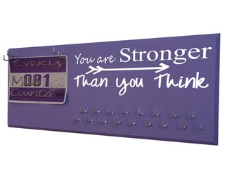 Running Medal Holder and Race Bib Holder RUNNING  -You are stronger than you think inspirational- To have trained hard and finished running.