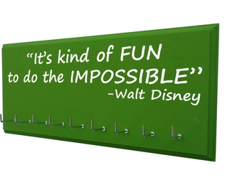 Running: Run Disney medal holder, It's kind of fun to do the impossible. Walt Disney. Rundisney, medal hanger, medal rack, gifts for runners