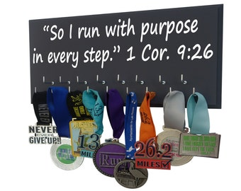 Sports quote, Running Medal Rack, Runners medal hanger So I run with purpose in every step. 1 Corinthians 9:26