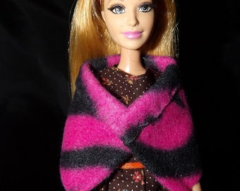 Fashion Doll Coordinates - Short hot pink & black Zebra print wrap cape - es360