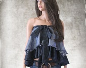 Denim layer ruffle top/strapless blouse bow front/Layering shirt