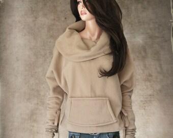 Cowl sweatshirt wide neck/Women tan top/Thumbhole pull over/Fleece active wear/Wide neck drape/Big collar/Long sleeve