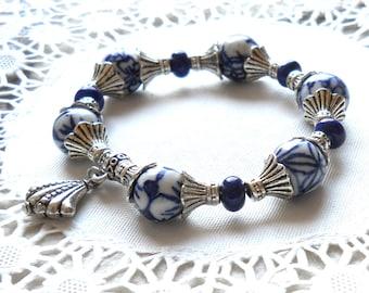 delft bracelet delft blue bracelet Delft blue and white delft bracelet blue and white bracelet delft blue style delft blue bracelet  M