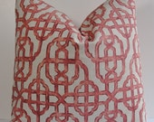 Lumbar size Decorative Lacefield Imperial coral pillow cover, Chinoiserie trellis lattice throw pillow, Oriental Asian red Both sides