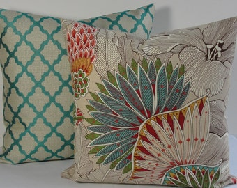 Chinoiserie Turquoise Floral Throw Pillow Designer pillow red green gold pillow cover-Tropical flower resort cottage accent