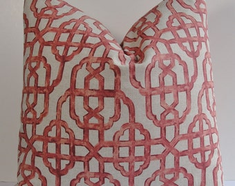 Decorative Lacefield Imperial coral pillow cover, Chinoiserie trellis lattice throw pillow, Oriental Asian red accent pillow, Both sides