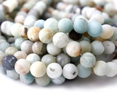 8mm Amazonite Beads, Frosted Matte Gemstone Geads