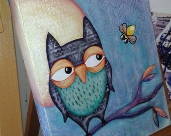 Original Owl & Firefly mixed media painting on 11 x 14 canvas