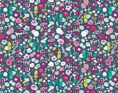Navy Pink Floral Knit Fabric Lavish Pretty Ditzy Dream by Art Gallery, by the half yard or yard