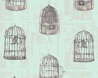 Mint Green Bird Cage Fabric Wonderland Uncaged Words Mint by Art Gallery, 1 yard
