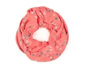 INFINITY SCARF - Screen Printed - Gray Confetti on Coral