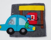 Gas Station Quiet Book Page / Cloth Activity Book / Quiet Book / Birthday Gift For Toddlers / Learning Book / Childrens Book / Felt Book /