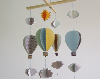 Hot Air Balloon Mobile / Paper Mobile / Baby Nursery Mobile / Hanging Baby Mobile / 3D Paper Mobile / Nursery Art / Baby Room / Mobiles /