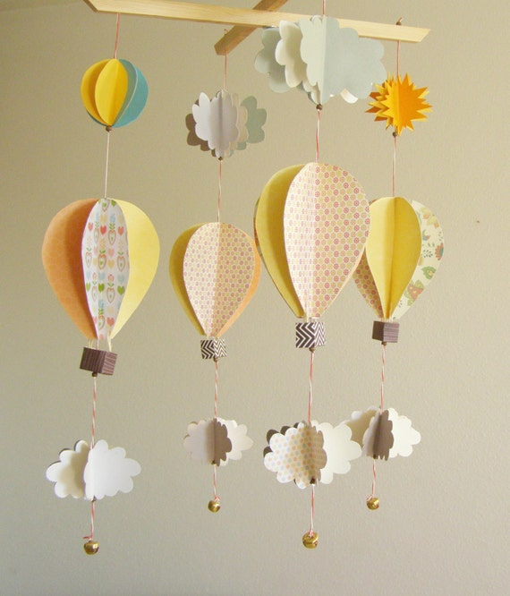 Items Similar To Nursery Decor Hot Air Balloon Mobile