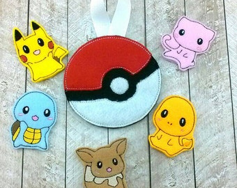 Pokemon finger puppet set pokeball goodie bags pikachu squirtle 6 piece felt play playset