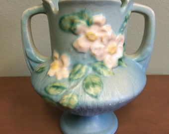 Roseville Pottery White Roses with Blue & Green Trophy Vase